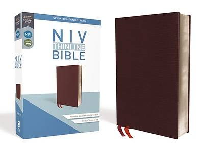 NIV, Thinline Bible, Bonded Leather, Burgundy, Red Letter Edition