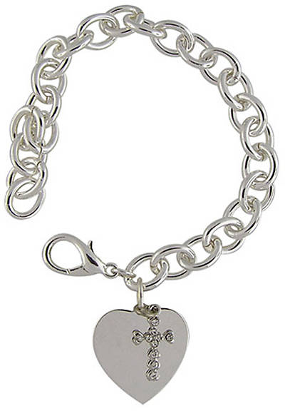 Silver Plated Link Bracelet w/Heart and Crystal Charm