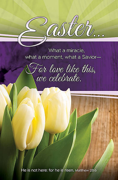 Easter Bulletin Matthew 28:6, Regular Size Package of 100
