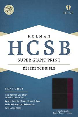 HCSB Super Giant Print Reference Bible, Black/Burgundy Leathertouch Indexed