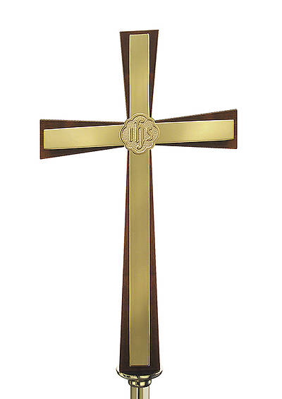 WALNUT PROCESSIONAL CROSS WITH  BRASS INLAY