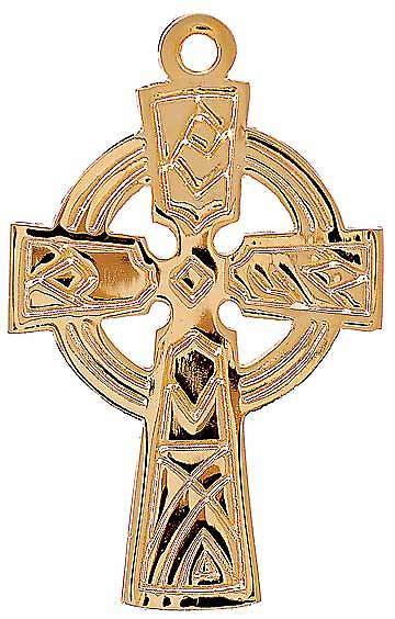 "Gold Celtic Cross Pendant with 30"" Chain"