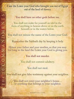 Picture of Wall Chart NIV Ten Commandments  Laminated