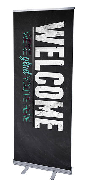 Slate Welcome RollUp Banner with Stand