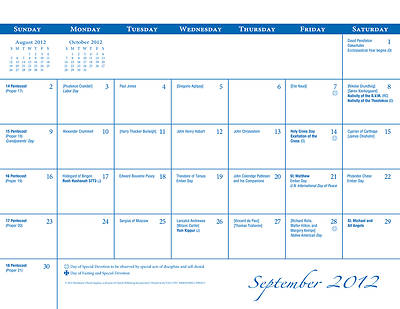 Parish Wall Calendar 2012-2013