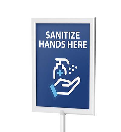 Picture of Sign for Large Frame Hand Sanitizer Dispenser Floor Stand