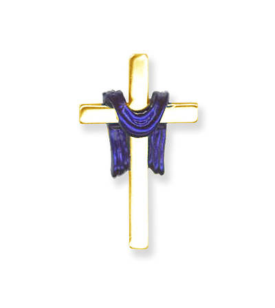 Gold Cross with Purple Pall Lapel Pin