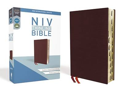 NIV, Thinline Bible, Bonded Leather, Burgundy, Indexed, Red Letter Edition
