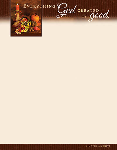 Everything God Created is Good Thanksgiving Letterhead
