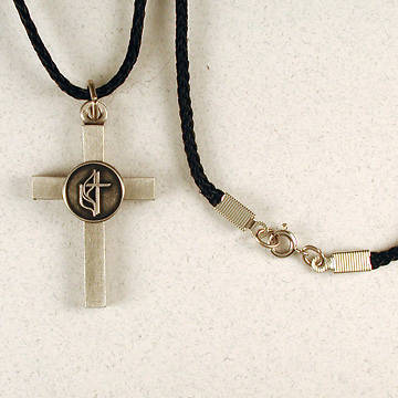 Cast Pewter Cross with United Methodist Logo