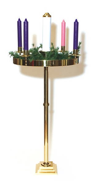 Solid Brass Advent Wreath, Paschal, Square Base