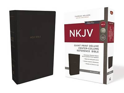 NKJV, Deluxe Reference Bible, Center-Column Giant Print, Imitation Leather, Black, Red Letter Edition, Comfort Print