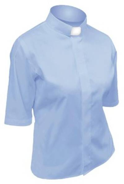 Picture of Lydia Short Sleeve Clergy Blouse with Tab Collar ENGLISH BLUE - 18