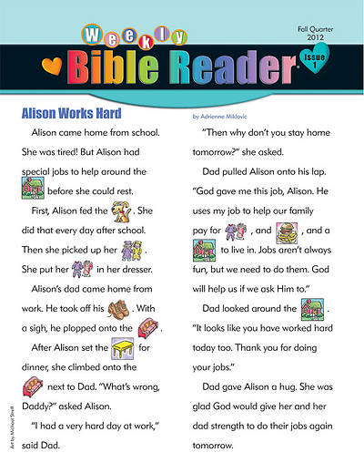 Standards HeartShaper Early Elementary Weekly Bible Reader Take Home Papers Fall (pack of 5)