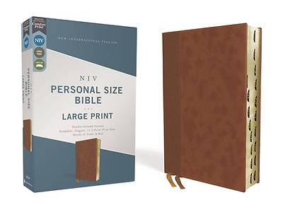 Picture of Niv, Personal Size Bible, Large Print, Leathersoft, Brown, Red Letter, Thumb Indexed, Comfort Print