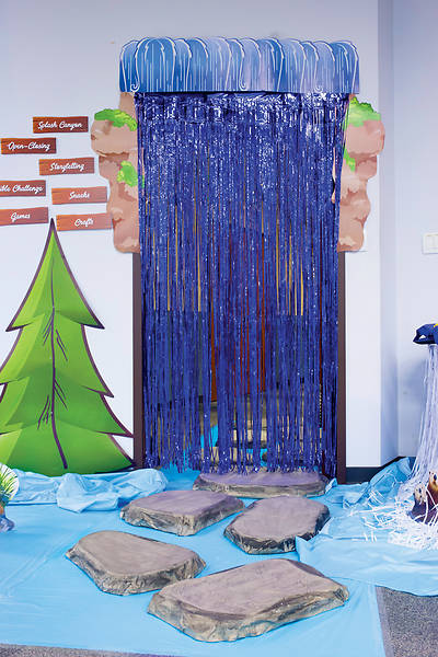 Vacation Bible School (VBS) 2018 Splash Canyon Waterfall Door Curtain with Border