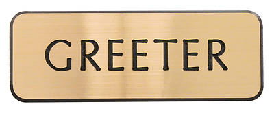 Contemporary Engraved Gold Greeter Badge