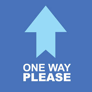 "Picture of One Way Please 9""x9"" Floor Decal Sign - 2 Pack"
