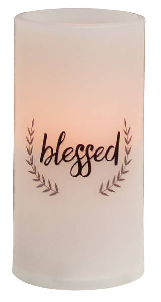 Picture of Blessed Timer Pillar Candle - White