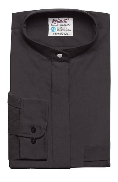 "Reliant Long Sleeve Neckband Clergy Shirt Black - 17"" - 34"" - 35"""