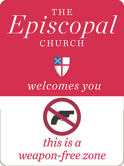 Weapon-Free Zone Episcopal Church Sticker - Pack of 10