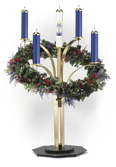 CONTEMPORARY ADVENT WREATH SATIN FINISH COMPLETE SET WITH 4 BLUE
