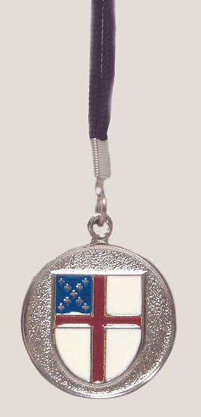 Episcopal Silver Shield Pendant with Black Nylon Cord (#103)