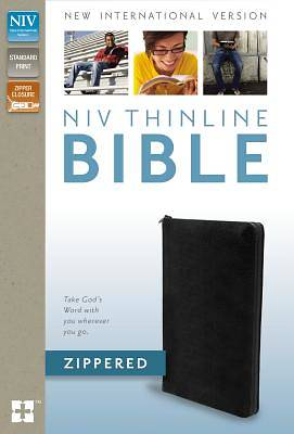 NIV Thinline Zippered Bonded Leather Black Collection Bible