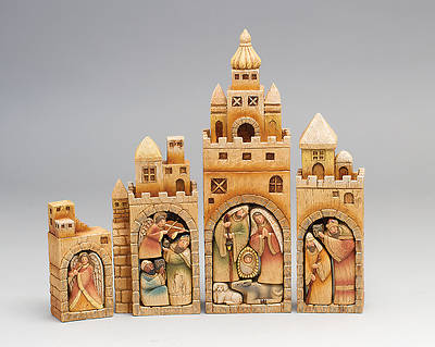 Nativity - Four Building with Pull-Out Figures 12.75""