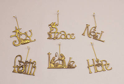 Word Ornaments (6 Pieces Assorted)