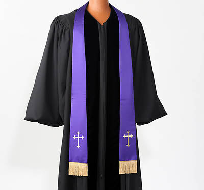 Satin Purple Latin Cross Stole