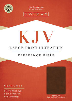 Picture of KJV Large Print Ultrathin Reference Bible, British Tan Leathertouch, Indexed, Black Letter Edition