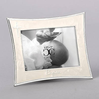 """Picture of Ivory With Silver Cross Baptism Photo Frame 5.5"""""""