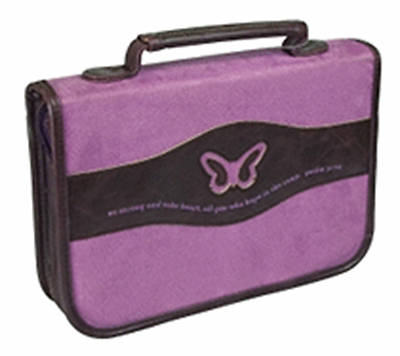 Bible Cover Medium with Butterfly Purple Suede Look