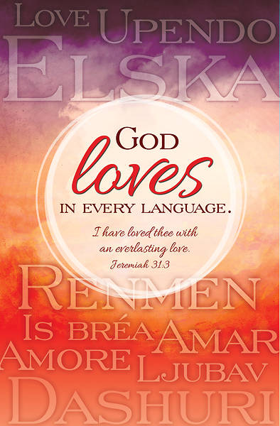 Picture of God Loves in Every Language Regular Size Bulletin