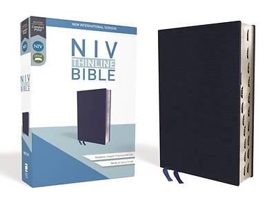 NIV, Thinline Bible, Bonded Leather, Navy, Indexed, Red Letter Edition