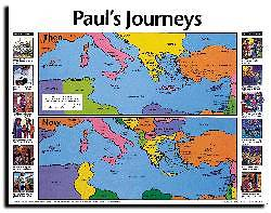 Picture of Wall Chart Paul's Journeys Then and Now