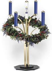 CONTEMPORARY ADVENT WREATH SATIN FINISH COMPLETE SET WITH 4 PURPLE