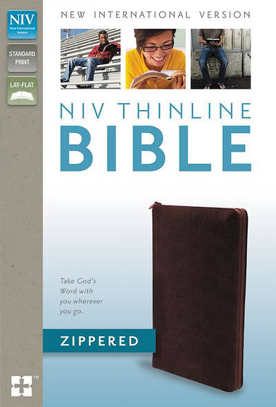 NIV Thinline Zippered Collection Bonded Leather Burgandy Bible