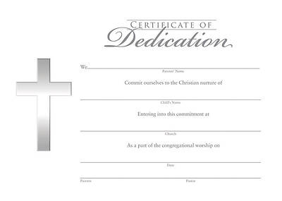 Dedication Certificate  Baby Dedication Certificates Templates