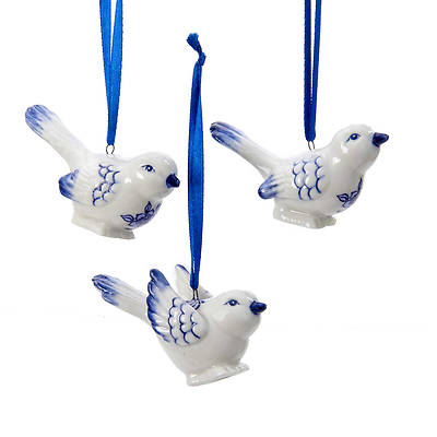 Picture of Porcelain Delft Blue Bird Ornaments 3 Assorted