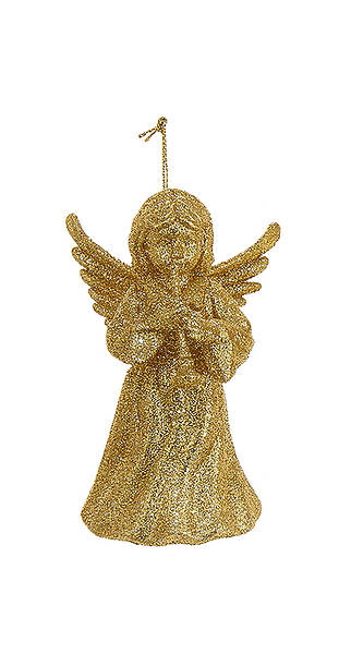 Glitter Gold Angel Playing A Trumpet