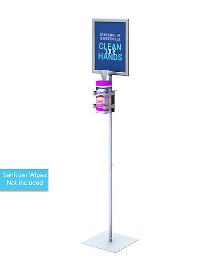 Picture of Sanitizing Wipe Dispenser Floor Stand with Large Sign Frame