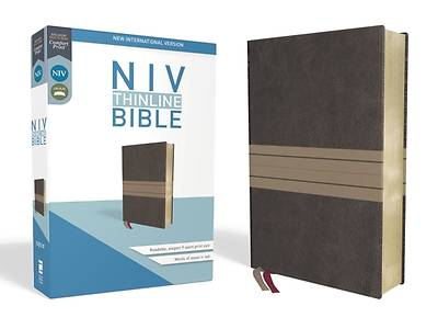 NIV, Thinline Bible, Imitation Leather, Brown, Red Letter Edition