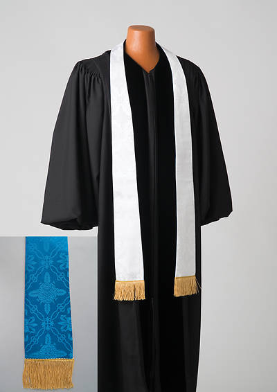 Picture of Brocade Plain Reversible Blue and White Stole