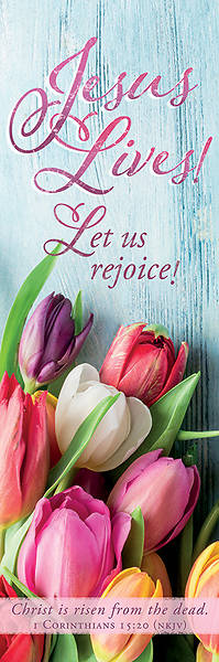 Picture of Jesus Lives! Let Us Rejoice! Easter Tulips 2' x 6' Fabric Banner
