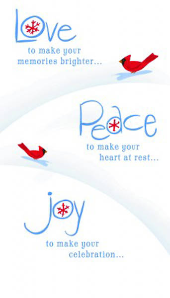 Boxed Card Little Inspirations Love Peace Joy Pack of 16