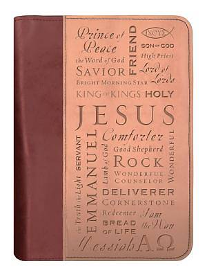 Names of Jesus Italian Duo-Tone Large Tan/Burgundy Bible Cover
