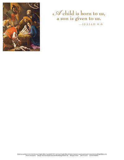 Picture of A Child Nativity Christmas Letterhead (Pkg of 50)