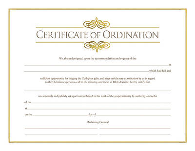 Certificate of Ordination for Minister